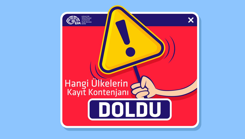 Kayıt Kontenjanı Dolan Ülkeler - 2019 (Yaz)